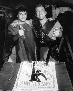 Celebrating the first year of Spartacus shooting. Tony Curtis just look like a little boy!