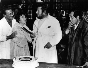 Celebrating Peter Ustinov's birthday on the set!