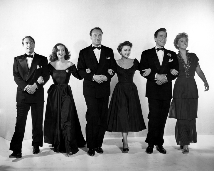 """A publicity still from the 1950 Academy Award®-winning drama """"All about Eve"""" features (left to right): Gary Merrill, Bette Davis, George Sanders, Anne Baxter, Hugh Marlowe and Celeste Holm. """"All about Eve"""" received a record 14 Academy Award nominations and won six Oscars®, including Best Picture. Restored by Nick & jane for Dr. Macro's High Quality Movie Scans Website: http:www.doctormacro.com. Enjoy!"""